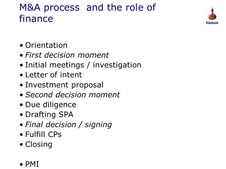 M&A process and the role of finance