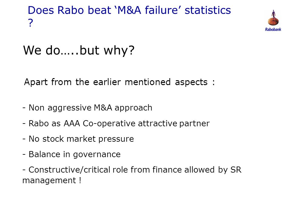 Does Rabo beat 'M&A failure' statistics