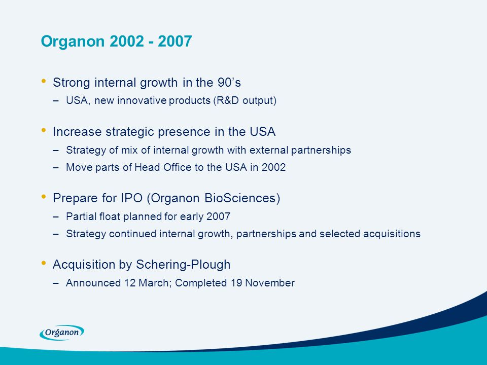 Organon 2002 - 2007 Strong internal growth in the 90's