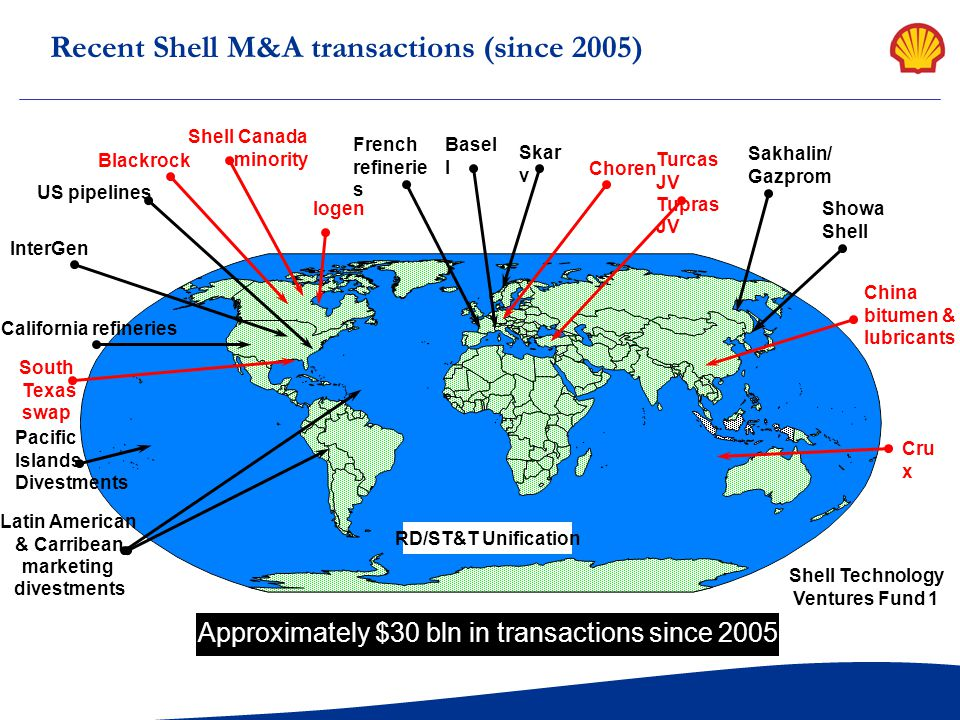 Recent Shell M&A transactions (since 2005)