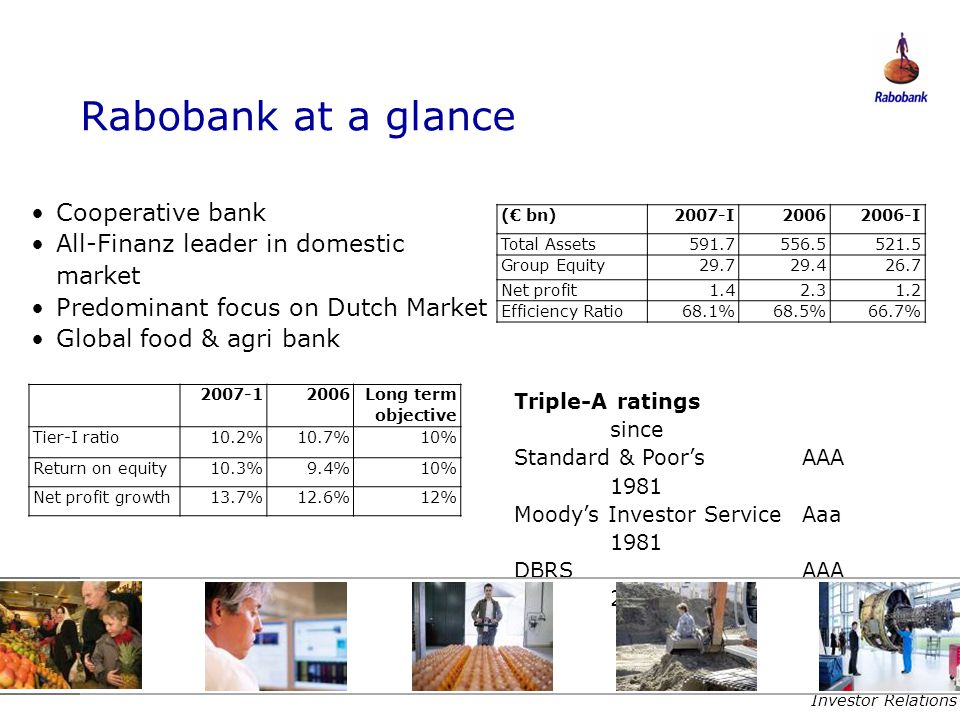 Rabobank at a glance Cooperative bank