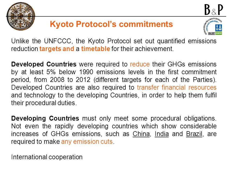 Kyoto Protocol's commitments