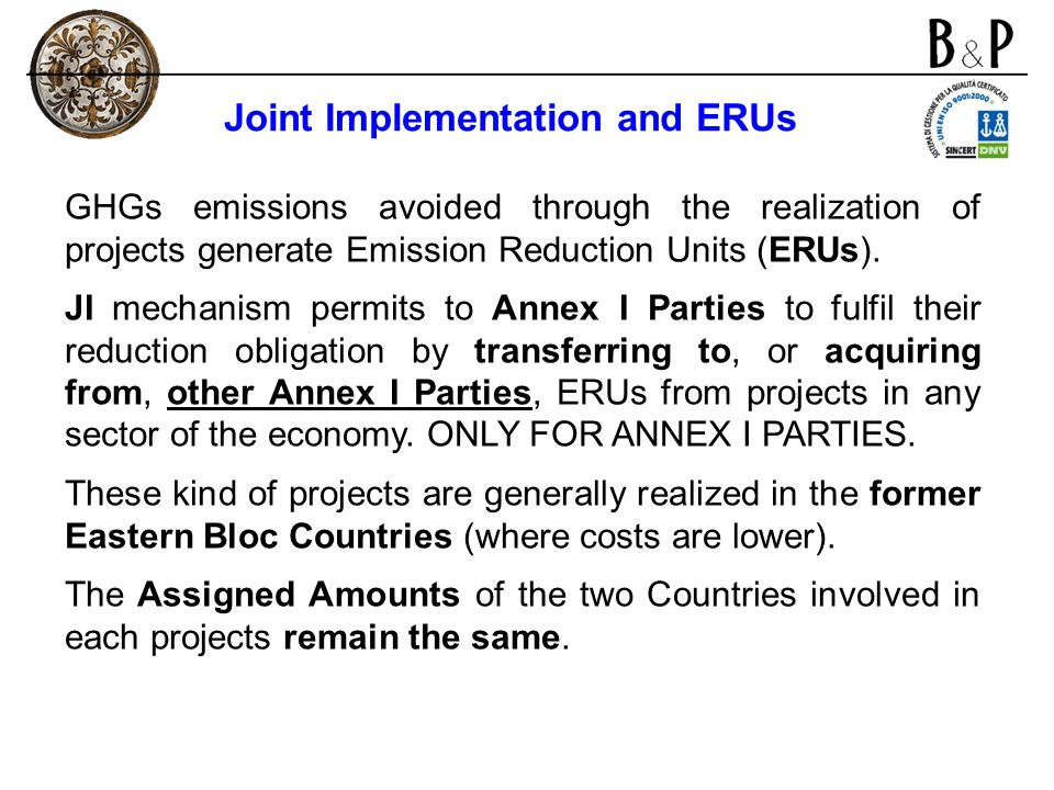 Joint Implementation and ERUs