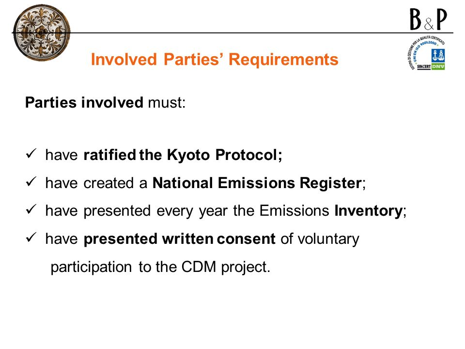 Involved Parties' Requirements