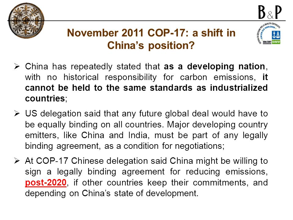 November 2011 COP-17: a shift in China's position