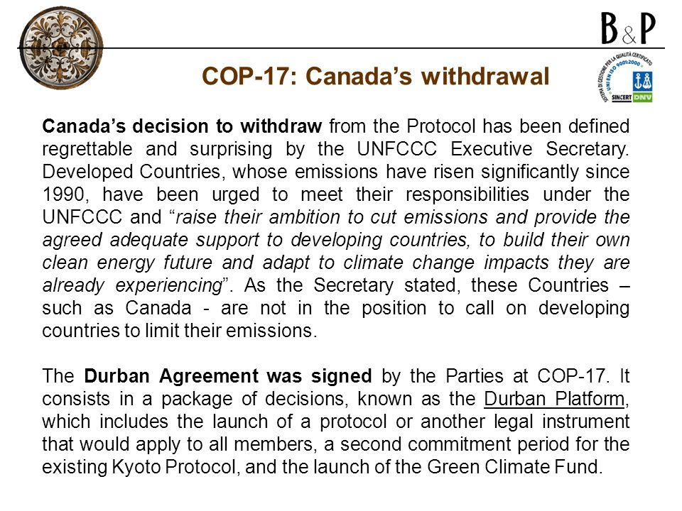 COP-17: Canada's withdrawal
