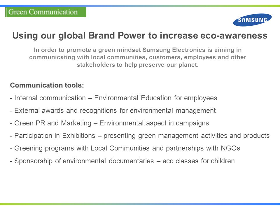 Using our global Brand Power to increase eco-awareness