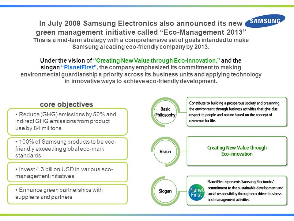 In July 2009 Samsung Electronics also announced its new