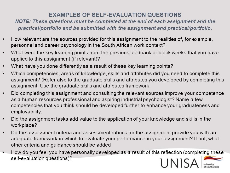 EXAMPLES OF SELF-EVALUATION QUESTIONS NOTE: These questions must be completed at the end of each assignment and the practical/portfolio and be submitted with the assignment and practical/portfolio.