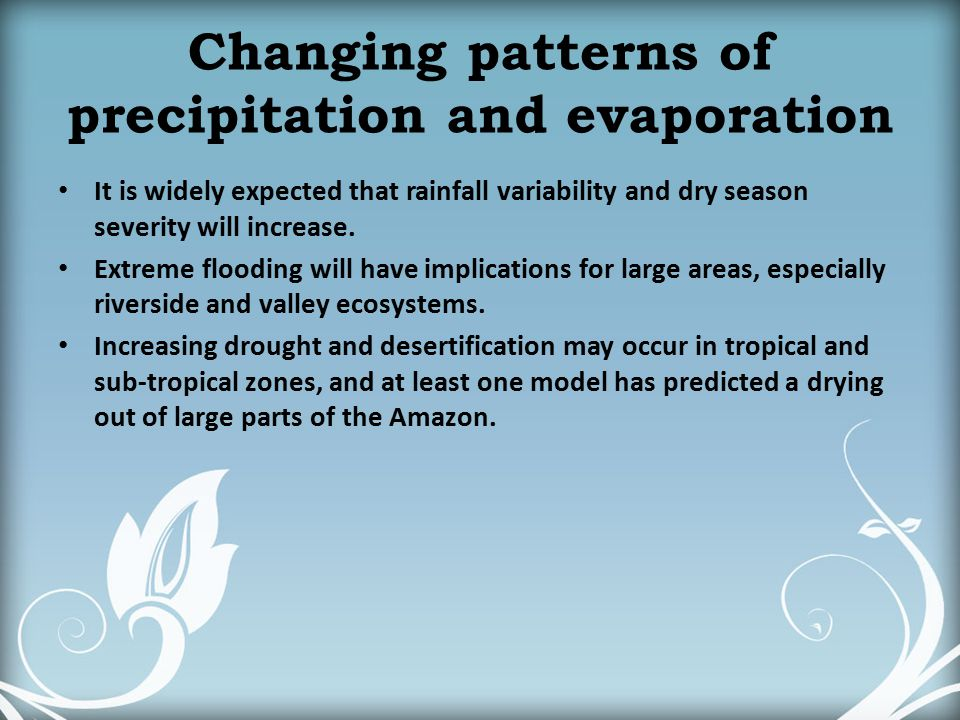 Changing patterns of precipitation and evaporation