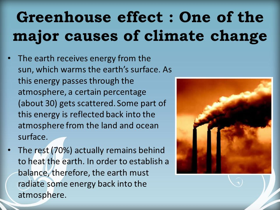Greenhouse effect : One of the major causes of climate change