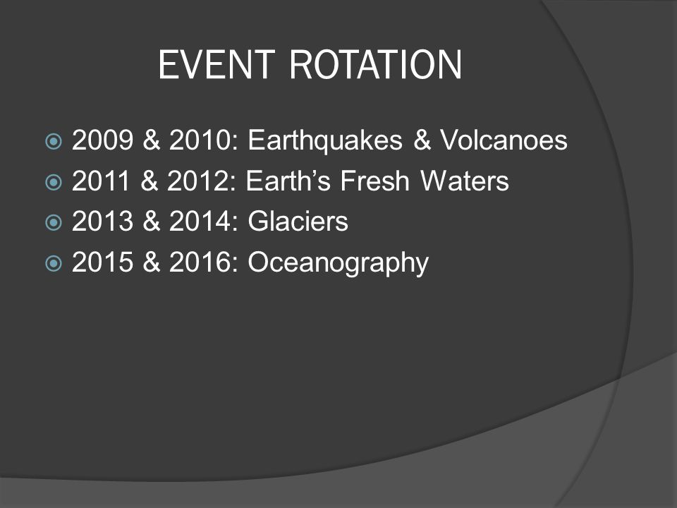 EVENT ROTATION 2009 & 2010: Earthquakes & Volcanoes