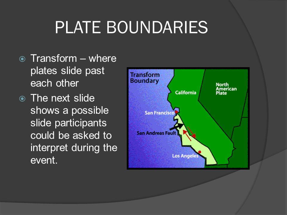PLATE BOUNDARIES Transform – where plates slide past each other