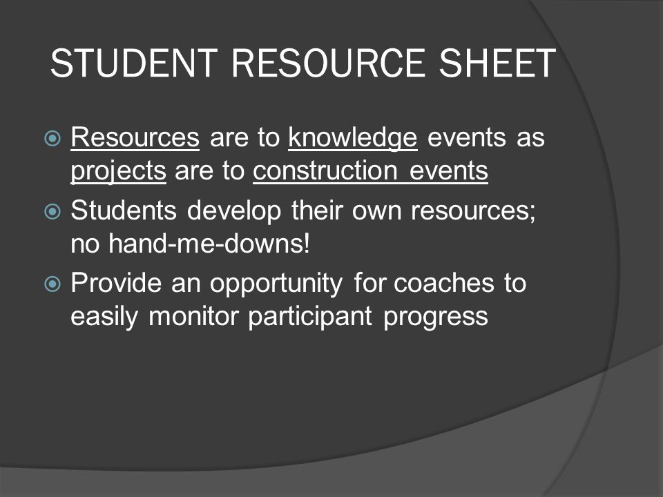 STUDENT RESOURCE SHEET