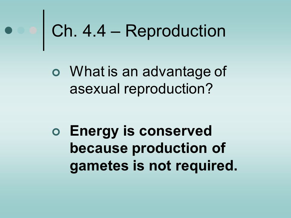 Ch. 4.4 – Reproduction What is an advantage of asexual reproduction