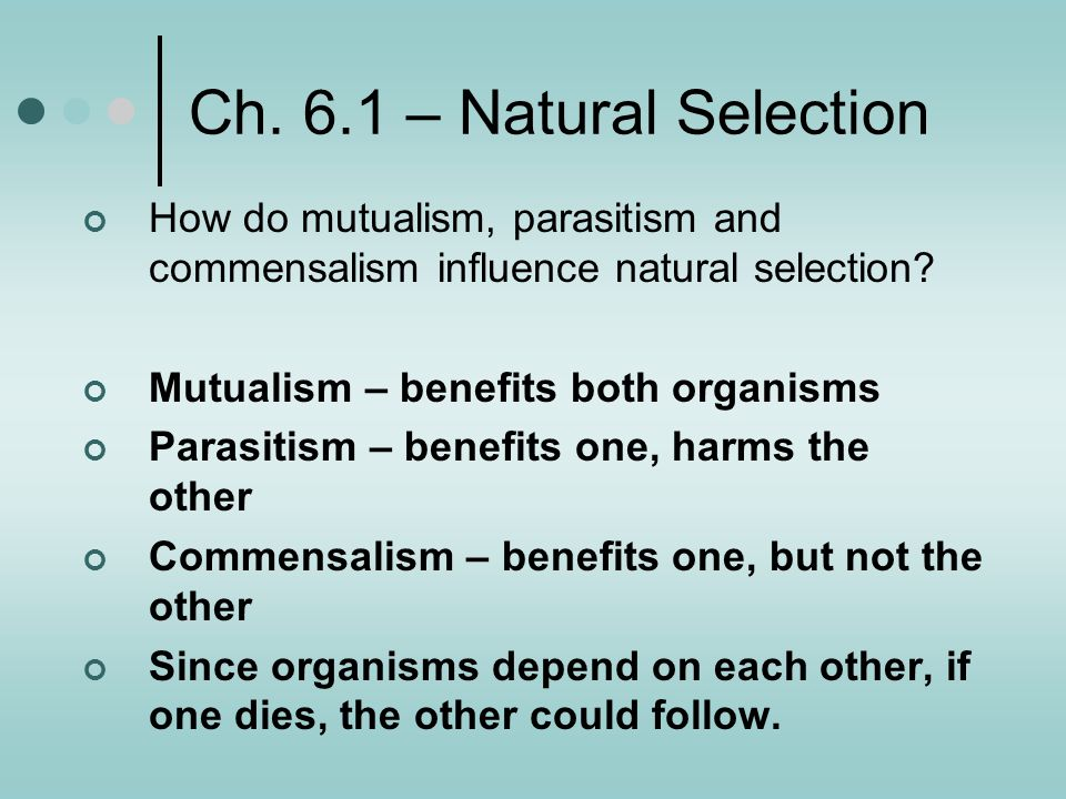 Ch. 6.1 – Natural Selection How do mutualism, parasitism and commensalism influence natural selection