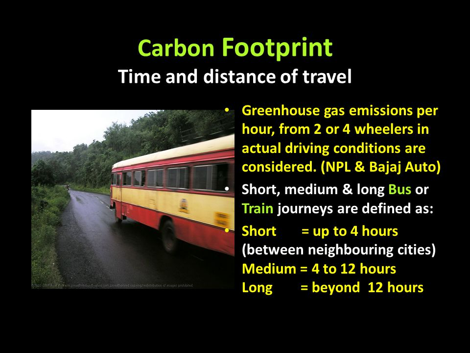 Carbon Footprint Time and distance of travel