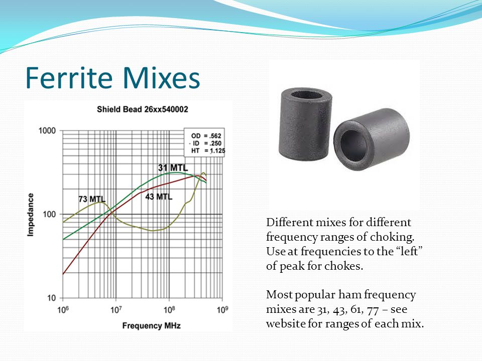 Ferrite Mixes Different mixes for different frequency ranges of choking. Use at frequencies to the left of peak for chokes.
