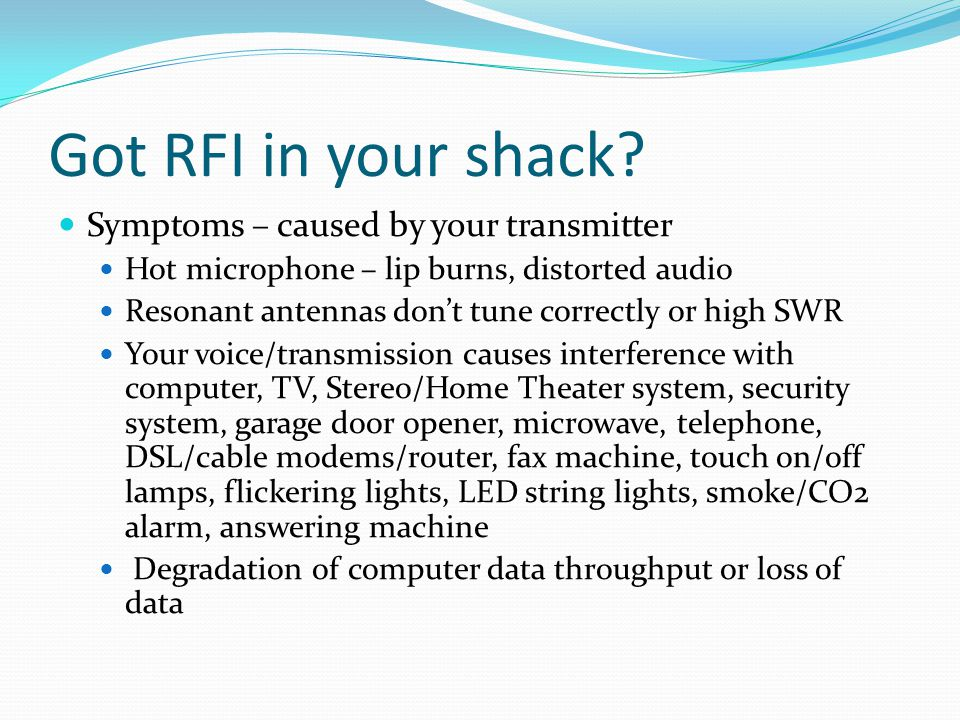 Got RFI in your shack Symptoms – caused by your transmitter