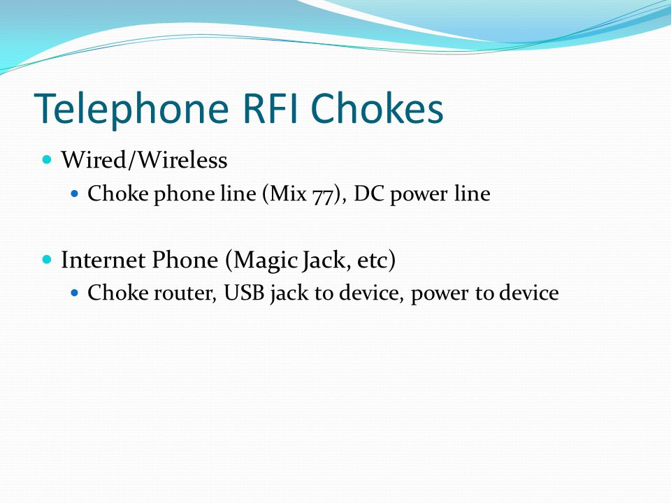 Telephone RFI Chokes Wired/Wireless Internet Phone (Magic Jack, etc)