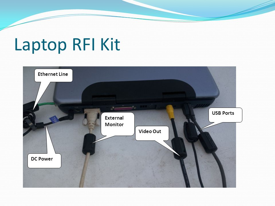 Laptop RFI Kit Ethernet Line USB Ports External Monitor Video Out