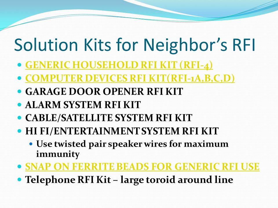 Solution Kits for Neighbor's RFI