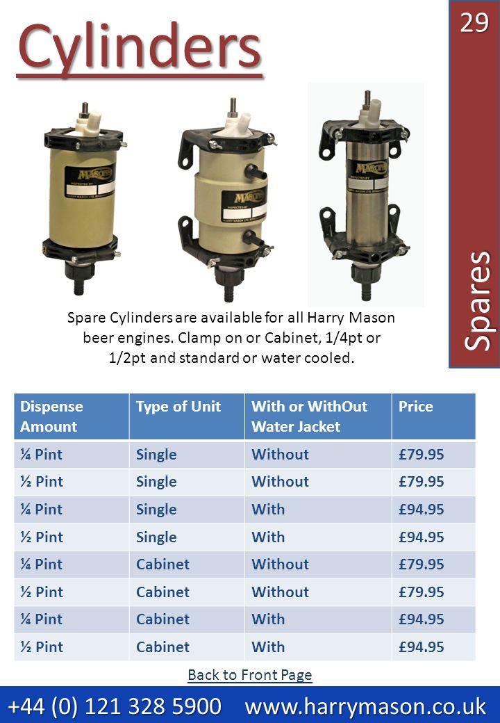 Cylinders Spares 29 +44 (0) 121 328 5900 www.harrymason.co.uk