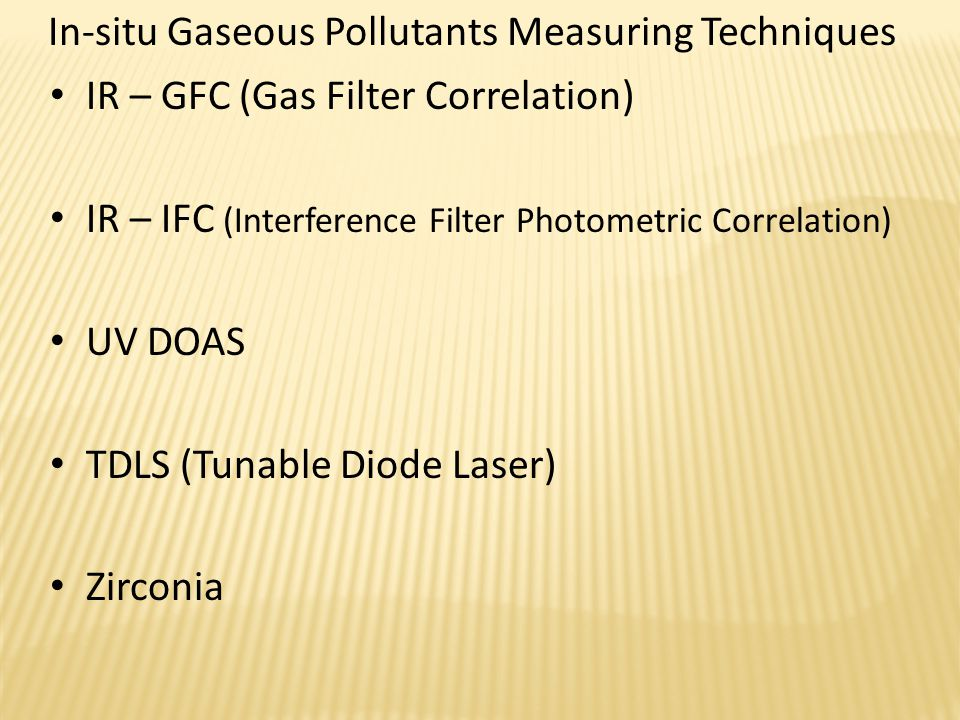 In-situ Gaseous Pollutants Measuring Techniques