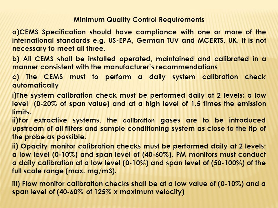 Minimum Quality Control Requirements
