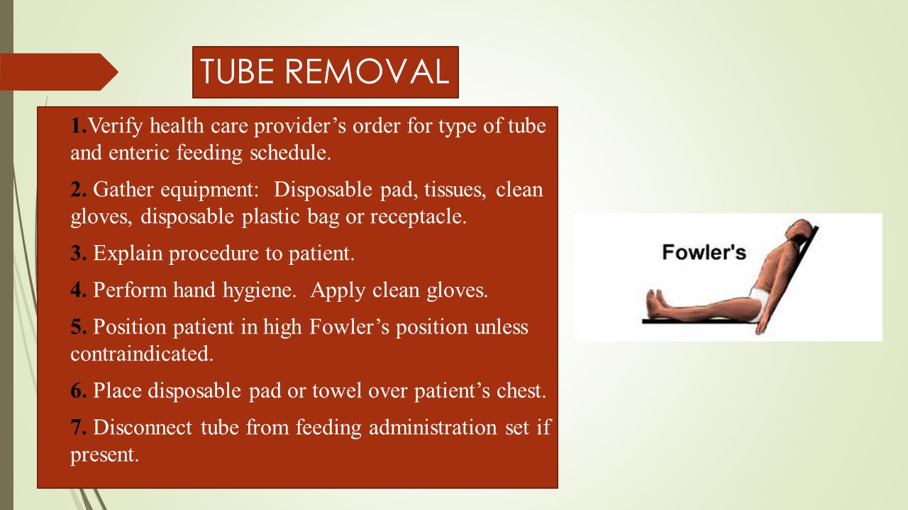 TUBE REMOVAL 1.Verify health care provider's order for type of tube and enteric feeding schedule.