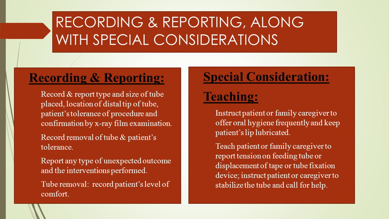 RECORDING & REPORTING, ALONG WITH SPECIAL CONSIDERATIONS