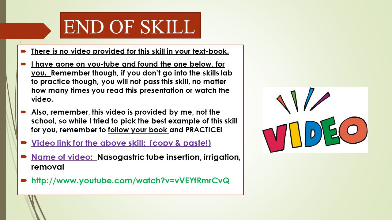 END OF SKILL Video link for the above skill: (copy & paste!)