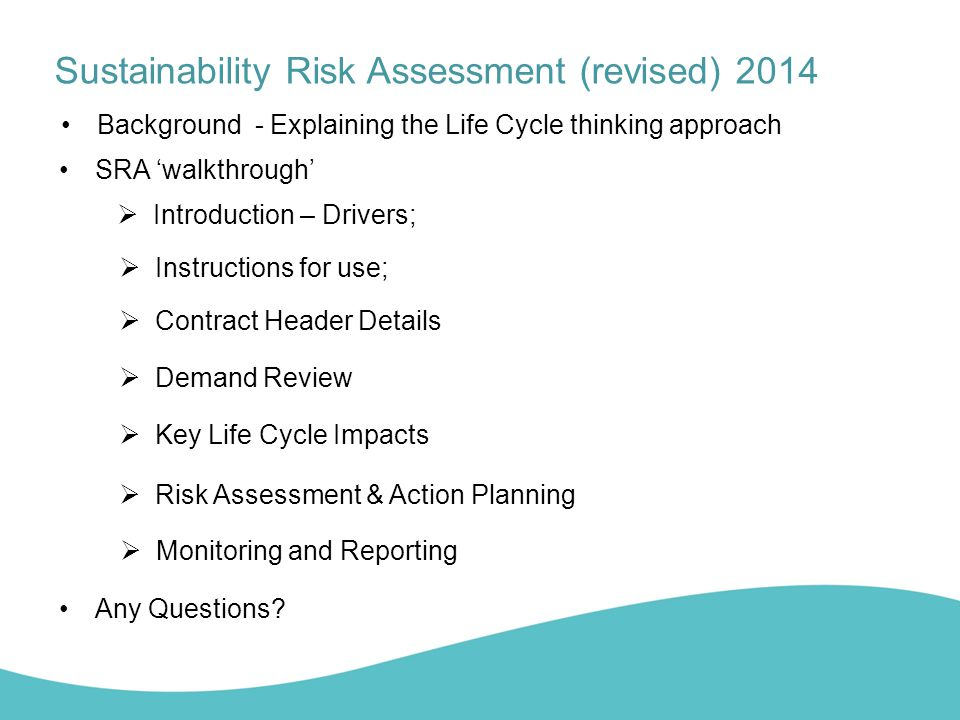 revised sustainability risk assessment (sra) templates ppt video, Presentation templates