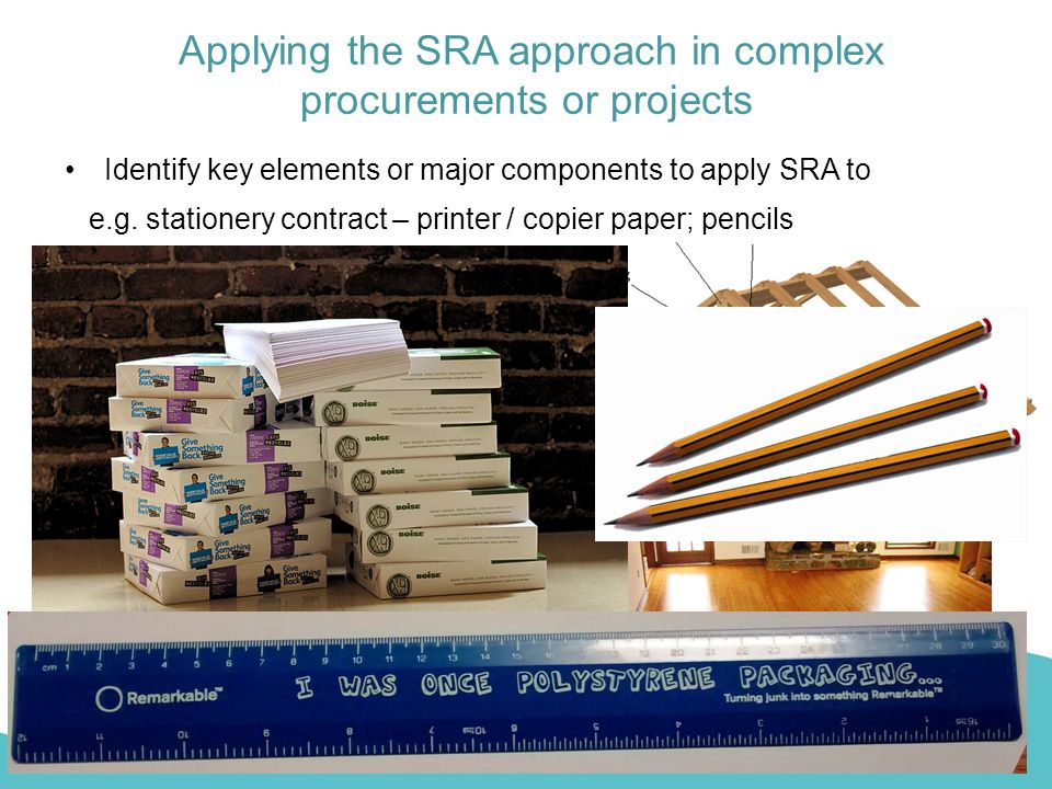 Applying the SRA approach in complex procurements or projects