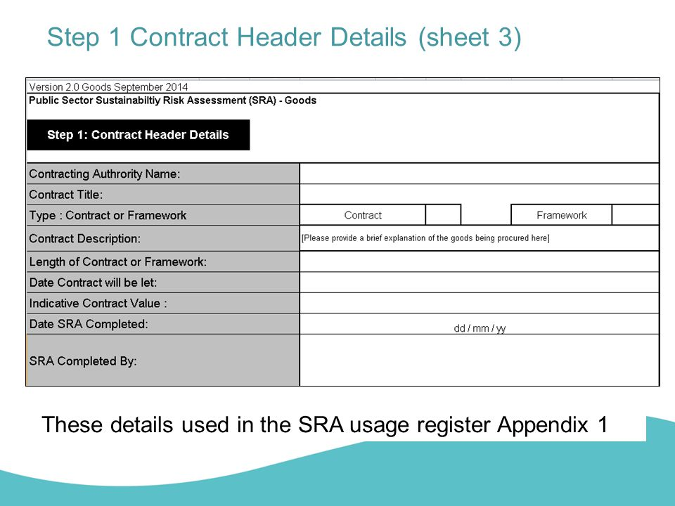 Step 1 Contract Header Details (sheet 3)
