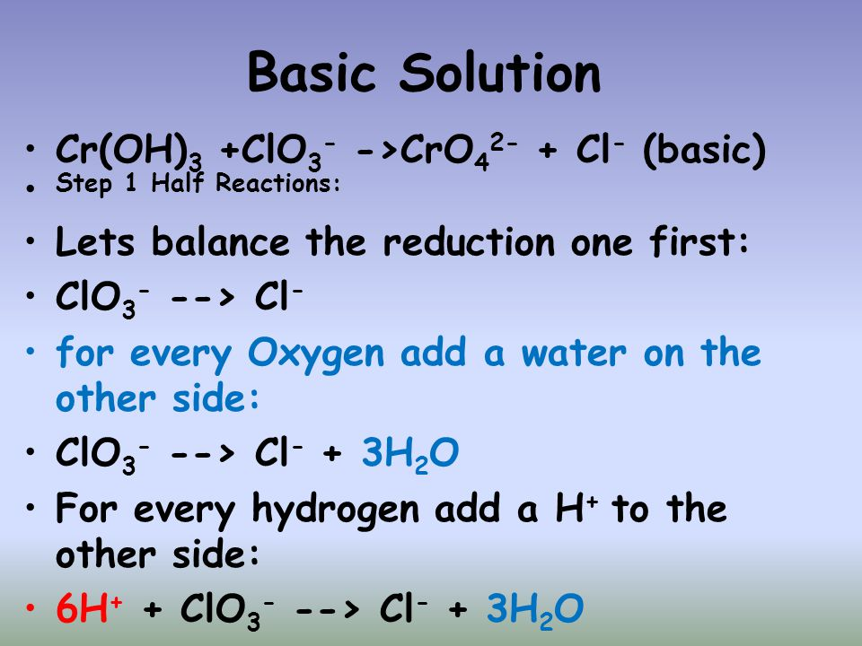 Basic Solution Cr(OH)3 +ClO3- ->CrO42- + Cl- (basic)