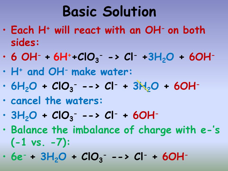 Basic Solution Each H+ will react with an OH- on both sides: