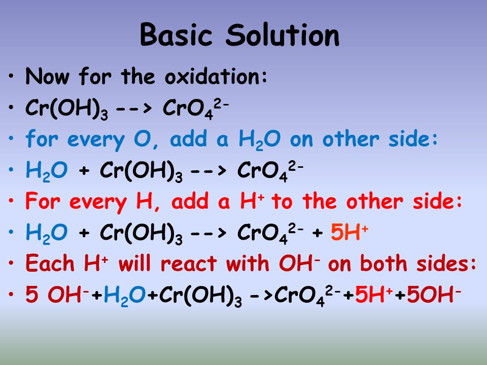 Basic Solution Now for the oxidation: Cr(OH)3 --> CrO42-