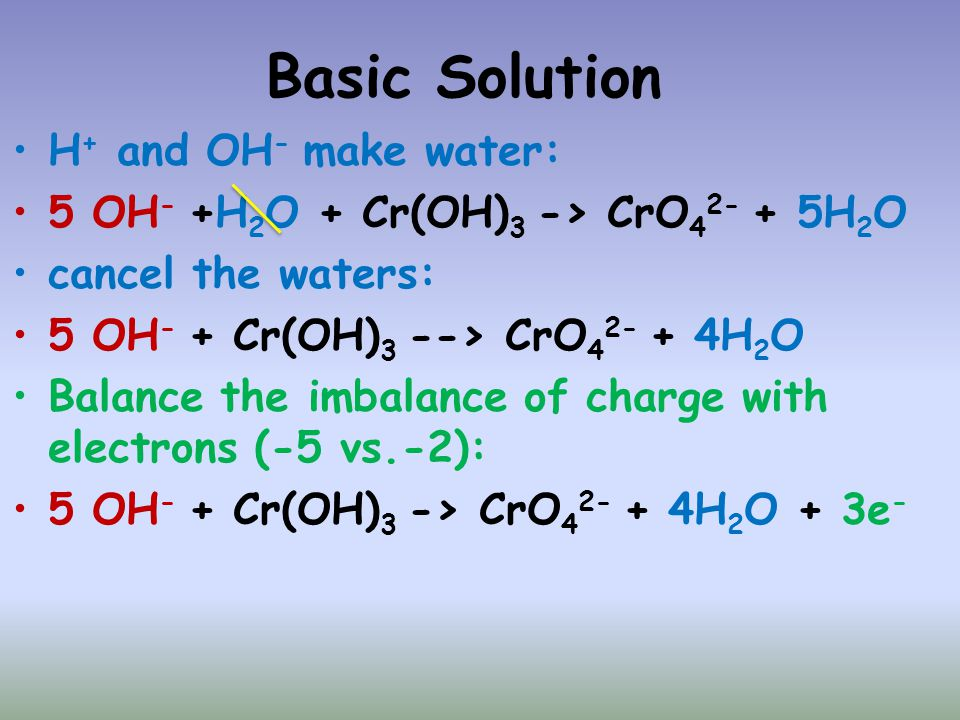 Basic Solution H+ and OH- make water: