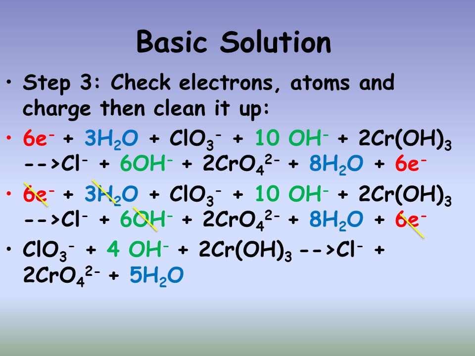 Basic Solution Step 3: Check electrons, atoms and charge then clean it up: