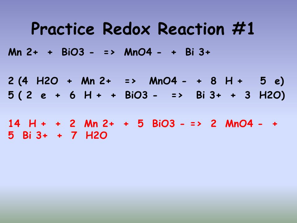 Practice Redox Reaction #1