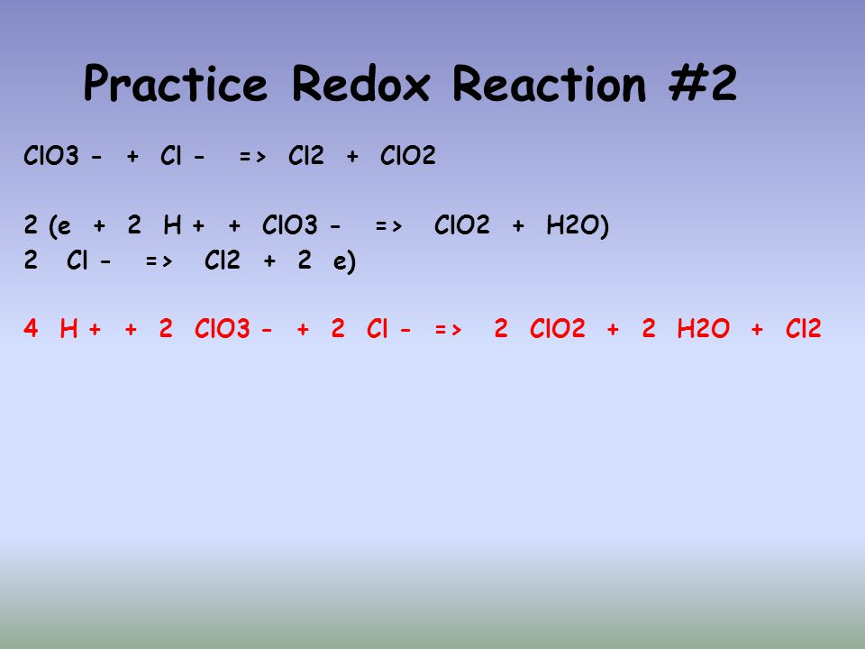 Practice Redox Reaction #2