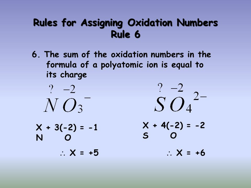 Rules for Assigning Oxidation Numbers Rule 6