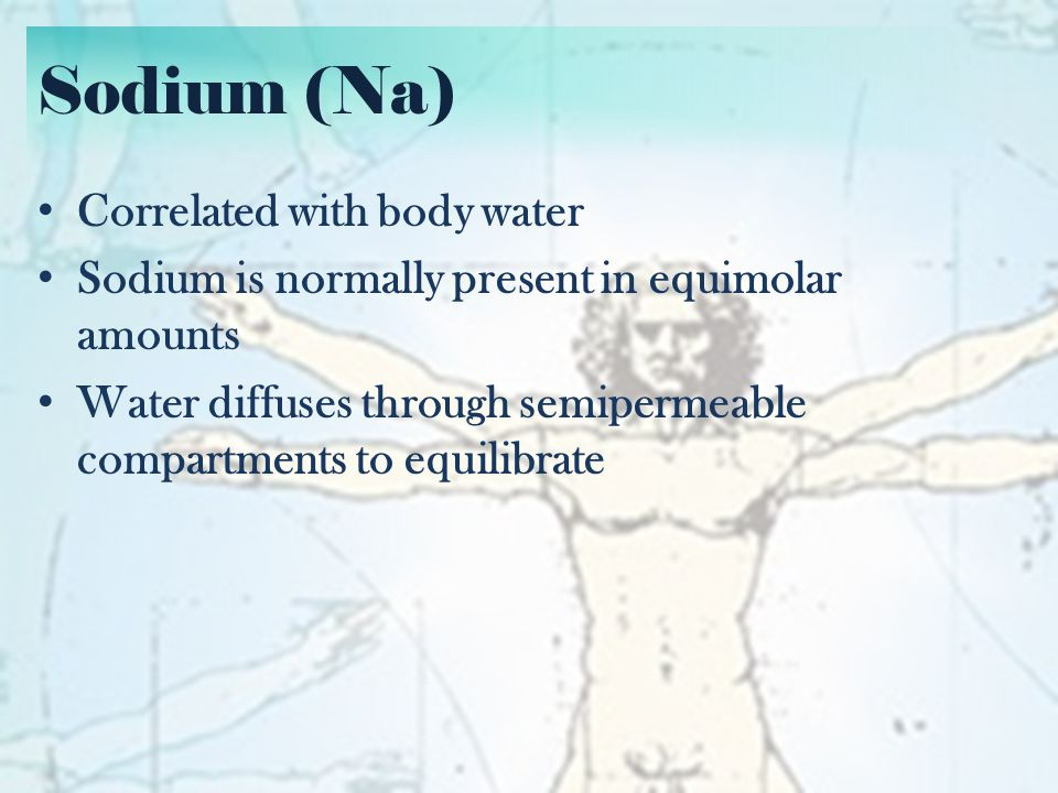 Sodium (Na) Correlated with body water