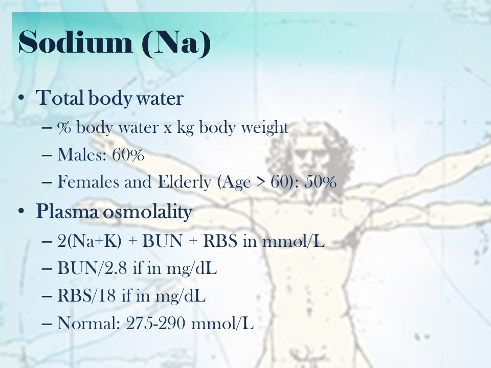 Sodium (Na) Total body water Plasma osmolality