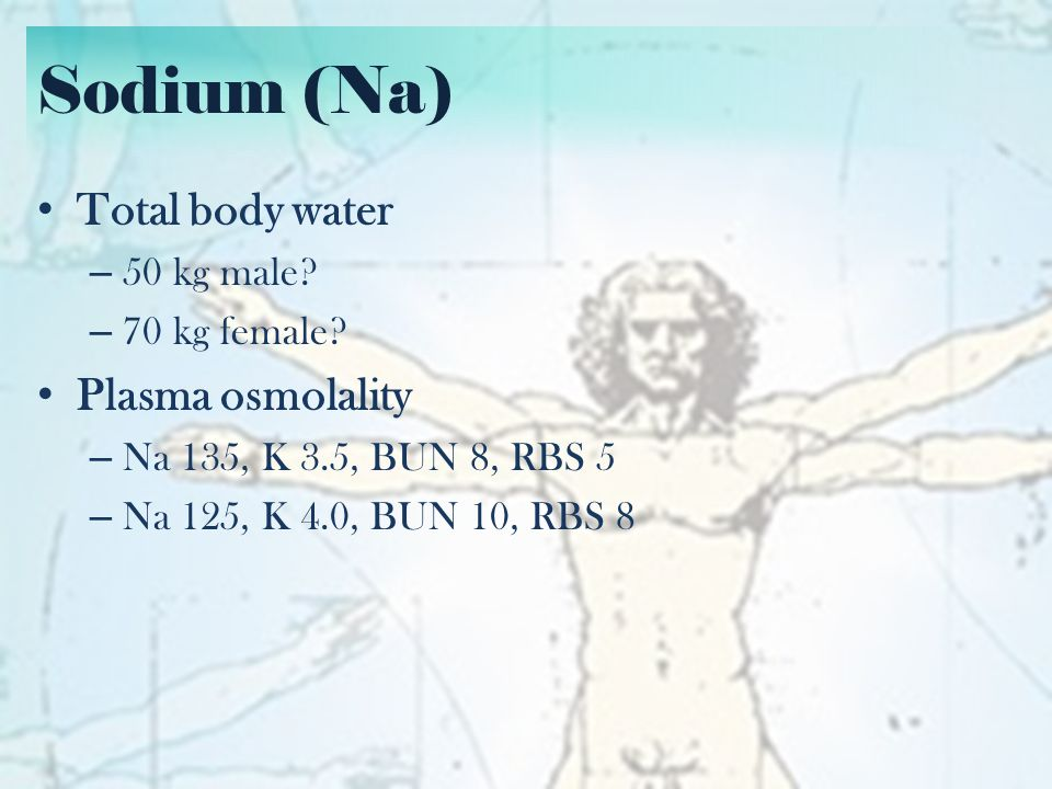 Sodium (Na) Total body water Plasma osmolality 50 kg male