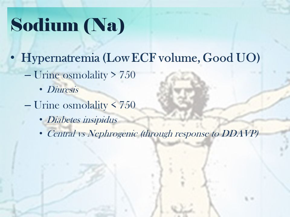 Sodium (Na) Hypernatremia (Low ECF volume, Good UO)