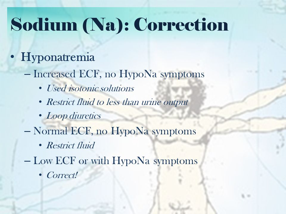 Sodium (Na): Correction