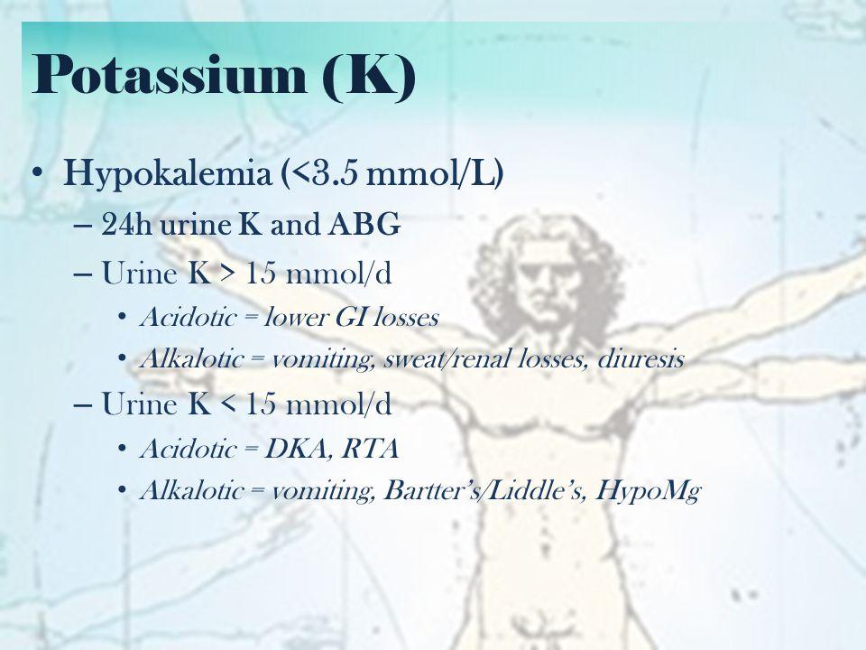 Potassium (K) Hypokalemia (<3.5 mmol/L) 24h urine K and ABG