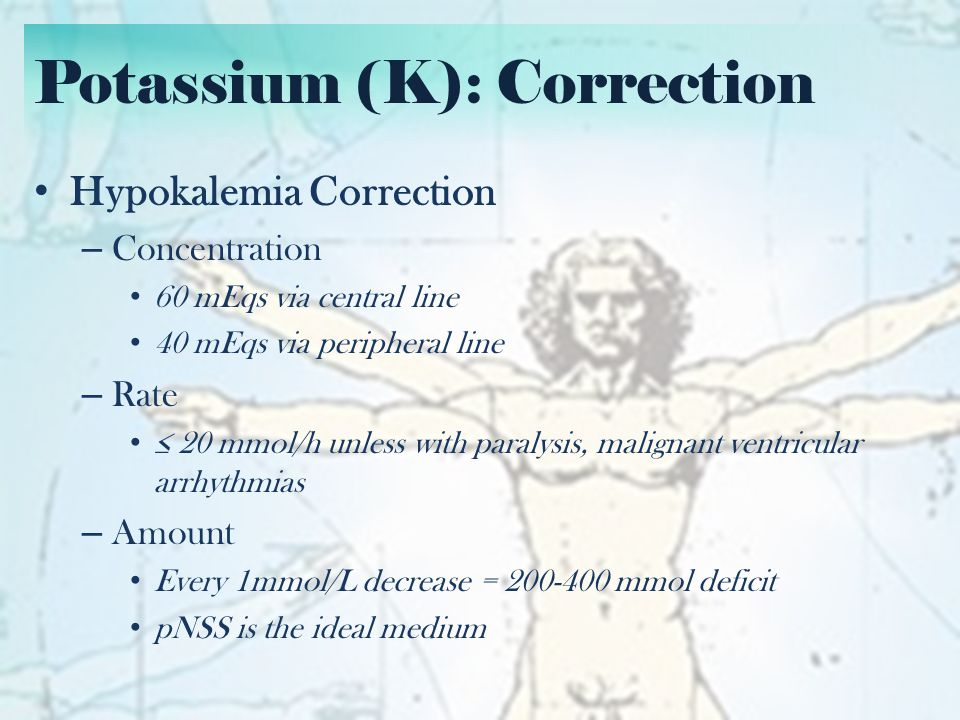 Potassium (K): Correction